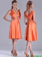 New Arrivals V Neck Beaded Short Mother of the Bride Dress in Orange Red