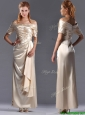Column Off the Shoulder Ruching Mother of the Bride Dress in Champagne