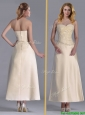 Luxurious Tea Length Applique Decorated Bodice Mother of the Bride Dress in Off White
