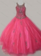 Beautiful Ball Gown Scoop Floor-length Beaded Lace Up Mini Quinceanera Dress in Organza