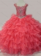 Perfect Sweetheart Beaded Mini Quinceanera Dress with Spaghetti Straps in Coral Red