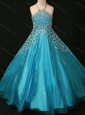 Beaded Decorated Halter Top and Bodice Teal Little Girl Pageant Dress with Criss Cross
