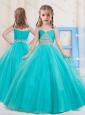 Princess Straps Floor Length Tulle Aqua Blue Little Girl Pageant Dress with Beading
