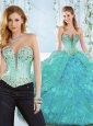 Beaded and Ruffled Organza Detachable 15 Quinceanera Dresses with Deep V Neckline