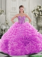 Cheap Visible Boning Beaded Bodice Fuchsia 15 Quinceanera Dresses with Ruffles
