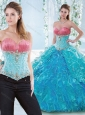 Discount Beaded Bodice and Ruffled Detachable Sweet 16 Dress in Organza