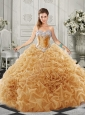 Discount Organza Champagne Quinceanera Dress with Beading and Ruffles