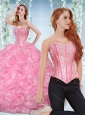 Discount Organza Rose Pink Detachable 15 Quinceanera Dresses with Beading and Bubbles