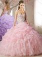 Elegant Beaded and Bubble Sweep Train Quinceanera Dress in Lavender