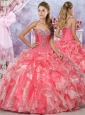 Latest Visible Boning Beaded and Applique Organza 15 Quinceanera Dresses in Two Tone