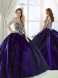 Low Price Brush Train Beaded Bodice Purple 15 Quinceanera Dress in Taffeta