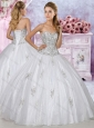 Low Price Tulle White Sweetheart Quinceanera Dress with Beading and Appliques