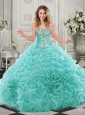 Modern Beaded and Ruffled Chapel Train 15 Quinceanera Dresses in Organza
