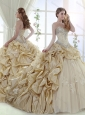New Style Applique and Bubble Champagne 15 Quinceanera Dress in Tulle and Taffeta