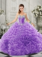 Simple Beaded and Ruffled Lace Up Sweetheart Quinceanera Gown in Organza
