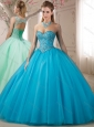 Beautiful Beaded Bodice Baby Blue Quinceanera Dress with Detachable Straps