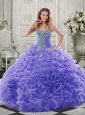 Best Puffy Skirt Beaded and Ruffled Lavender Sweet 16 Dress in Organza