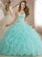 Best Selling Beaded and Ruffled Organza Quinceanera Dress in Apple Green