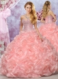 Best Selling Organza Pink Sweet 16 Quinceanera Dress with Beading and Bubbles