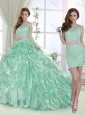 Cheap Beaded and Laced Bodice Apple Green Detachable Quinceanera Skirts in Organza