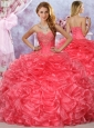 Cheap Beaded and Ruffled Coral Red SQuinceanera Dresses in Organza