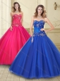 Discount Big Puffy Beaded Bodice Tulle Quinceanera Gown in Royal Blue