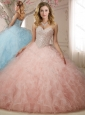 Discount Puffy Beaded and Ruffled Quinceanera Dress in Baby Pink