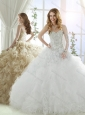 Discount Really Skirts Sweep Train Beaded and Ruffled Quinceanera Dress in White