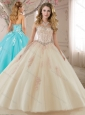 Discount Tulle Champagne Quinceanera Gown with Appliques and Beading
