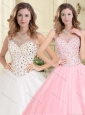 Elegant See Through Scoop Beaded Bodice 15 Quinceanera Dress in Tulle