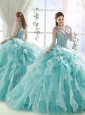 Exclusive Beaded and Ruffled Straps Quinceanera Dress in White and Aqua Blue