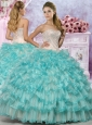 Exquisite Applique and Ruffled Quinceanera Dress in Champagne and Aqua Blue