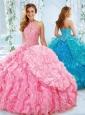 Exquisite Halter Top Beaded Bodice Detachable Quinceanera Dress in Rose Pink