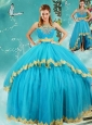 Fashionable Beaded and Applique Detachable Quinceanera Skirts in Baby Blue