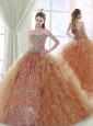 Gorgeous Applique and Ruffled Detachable Quinceanera Dresses in Champagne and Rust Red