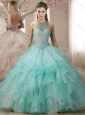 Hot Sale Halter Top Apple Green 15 Quinceanera Dress with Pearls and Ruffless