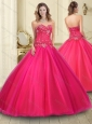 Hot Sale Sweetheart Coral Red Tulle 15 Quinceanera Dress with Beading