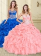 Luxurious Beaded and Ruffled Big Puffy Sweet 16 Dress in Watermelon Red