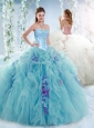 Luxurious Visible Boning Aquamarine Detachable Quinceanera Skirts with Beading