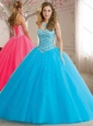 New Style Beaded Bodice Tulle Quinceanera Dress in Baby Blue