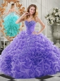 New Style Organza Lavender Quinceanera Dress with Beading and Ruffles