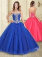 Perfect Puffy Skirt Royal Blue Tulle Quinceanera Dress with Beading