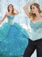 Popular Big Puffy Blue Detachable Sweet 16 Quinceanera Dress with Ruffles and Beading