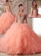 Popular Organza Peach 15 Quinceanera Dress with Beading and Ruffles