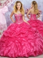 Pretty Puffy Skirt Hot Pink Dress for Quinceanera with Beading and Ruffles