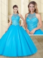 See Through and Beaded Baby Blue 15 Quinceanera Dress with Halter Top