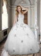 Simple White Sweetheart Tulle Quinceanera Dress with Appliques and Beading