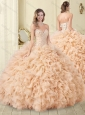 Unique Champagne Tulle Quinceanera Dress with Beading and Ruffles