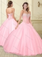 Visible Boning Beaded Sweetheart Quinceanera Dress in Baby Pink