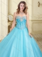 Visible Boning Really Puffy Beaded 15 Quinceanera Dress in Aque Blue